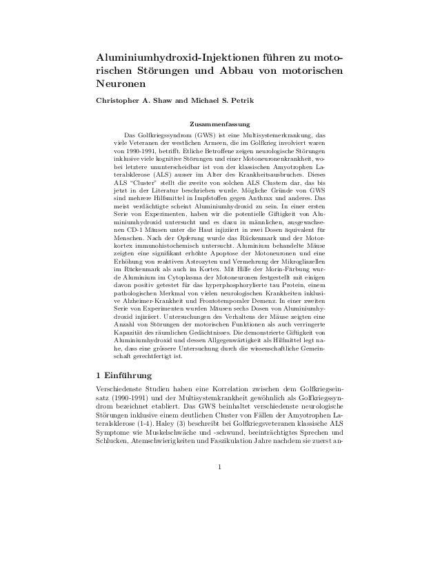 Studie beweist gefährlichkeit von aluminium in impfstoffen (neurotoxikologe chris shaw 2009)