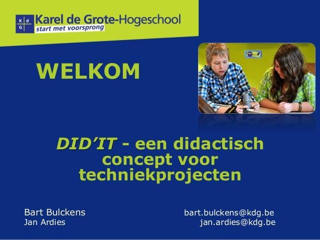 """Studienamiddag """"DID'IT een didactisch concept voor techniekprojecten"""""""