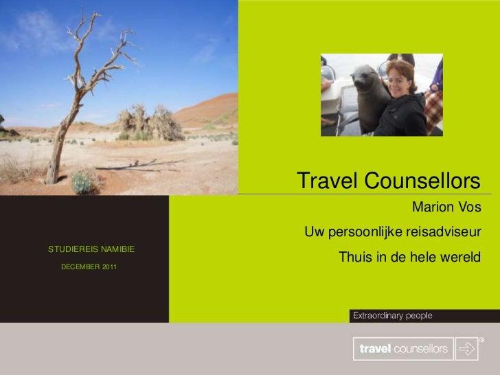 Travel Counsellors                                      Marion Vos                     Uw persoonlijke reisadviseurSTUDIER...