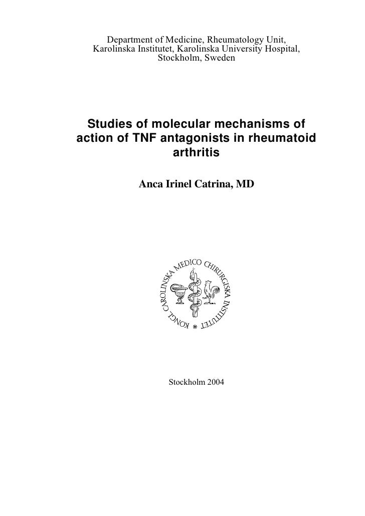 Studies Of Molecular Mechanisms Of Action Of Tnf Antagonists In Rheumatoid Arthritis