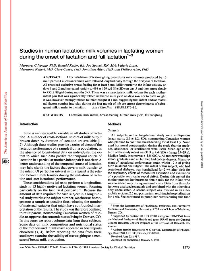 Studies In Human Lactation Milk Volumes In Lactating Women During The Onset Of Lactation And Full Lactation