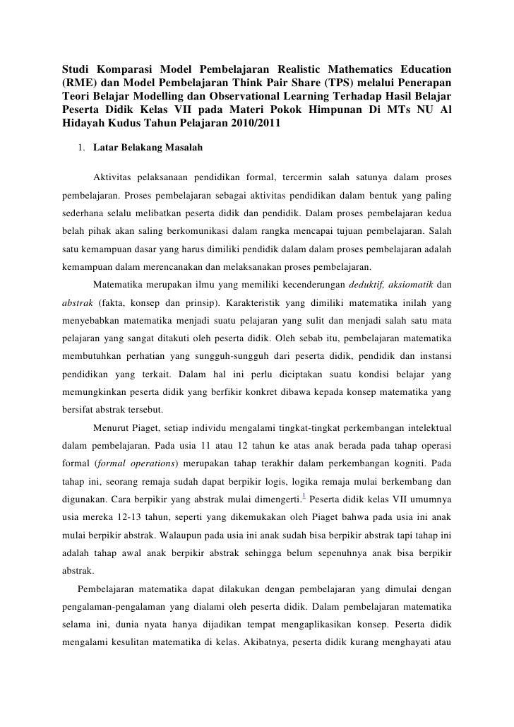 Studi Komparasi Model Pembelajaran Realistic Mathematics Education(RME) dan Model Pembelajaran Think Pair Share (TPS) mela...