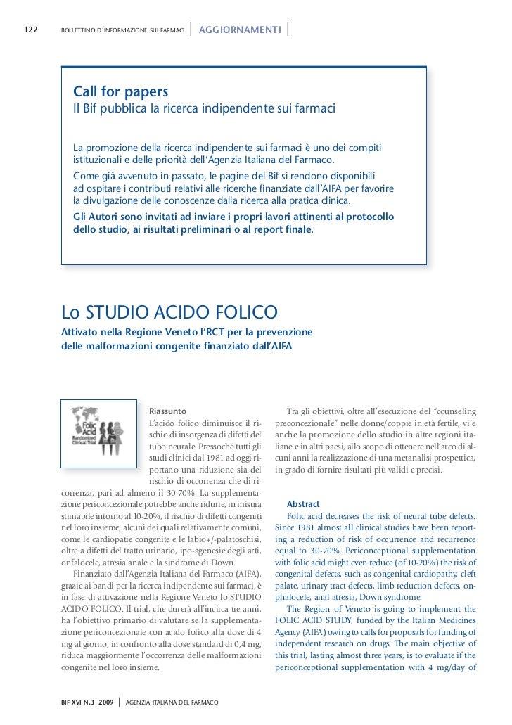 122   BOLLETTINO D'INFORMAZIONE SUI FARMACI      |   AGGIORNAMENTI        |         Call for papers         Il Bif pubblic...