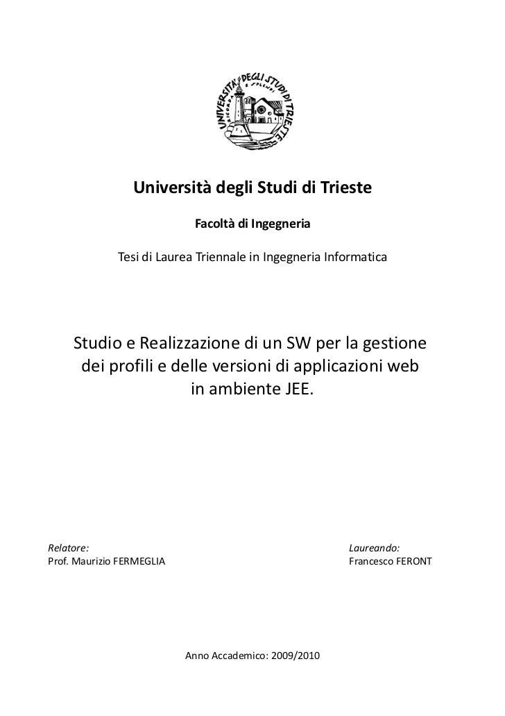 Università degli Studi di Trieste                            Facoltà di Ingegneria              Tesi di Laurea Triennale i...