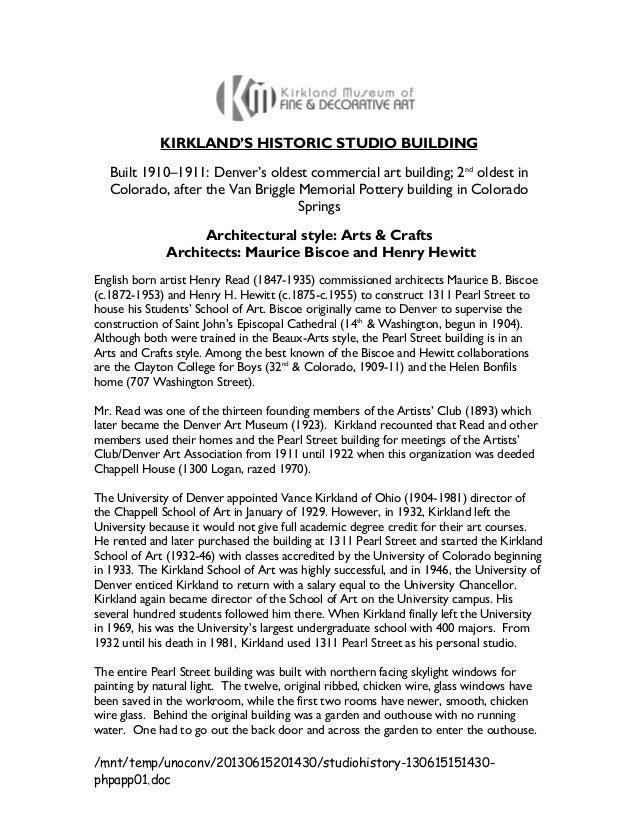 Vance Kirkland Studio Building History