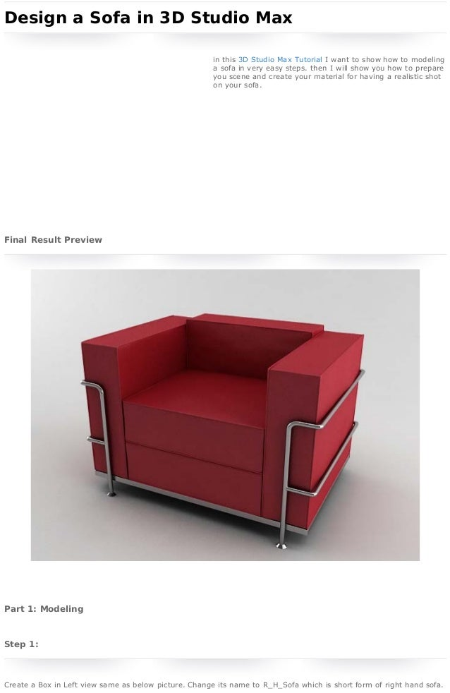 3D Studio Max Tutorial - Design a Sofa in 3D Studio Max  home   sign in   register   submit  search    Webmaster Tutorial...