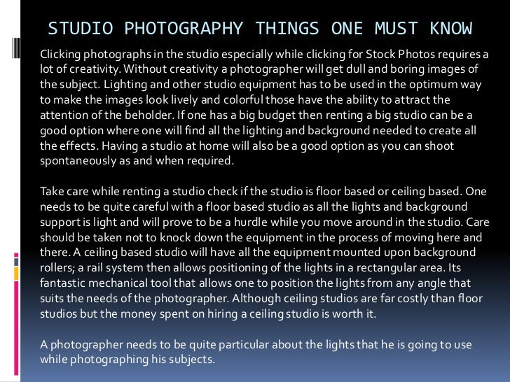 STUDIO PHOTOGRAPHY THINGS ONE MUST KNOWClicking photographs in the studio especially while clicking for Stock Photos requi...