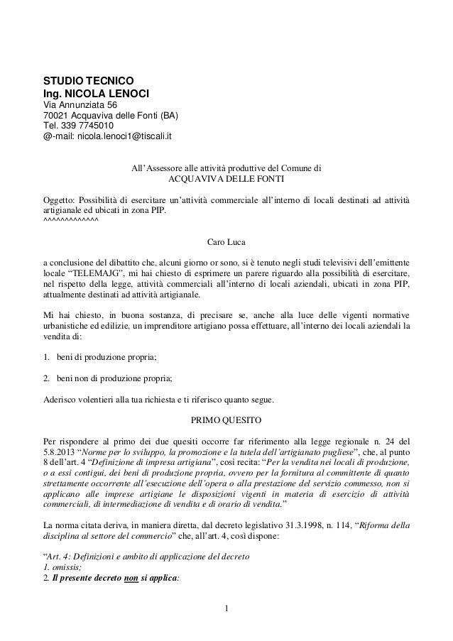1 STUDIO TECNICO Ing. NICOLA LENOCI Via Annunziata 56 70021 Acquaviva delle Fonti (BA) Tel. 339 7745010 @-mail: nicola.len...