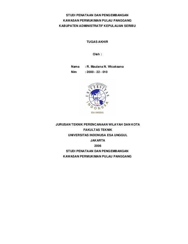 Studi penataan dan pengembangan kawsan permukiman di Kepulauan Seribu