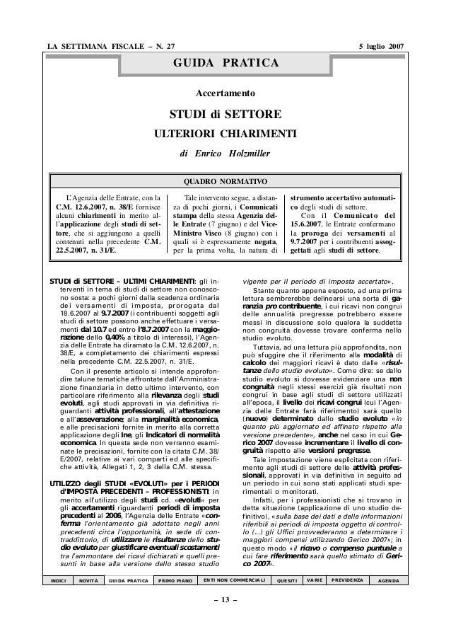 Accertamento STUDI di SETTORE ULTERIORI CHIARIMENTI