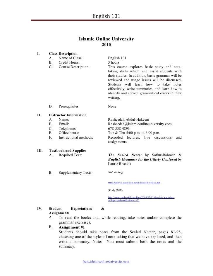 English 101                              Islamic Online University                                           2010 I.     C...