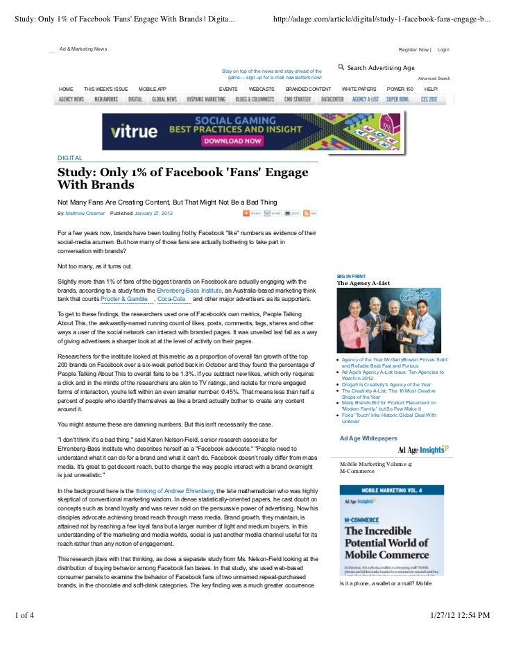 Study: Only 1% of Facebook Fans Engage With Brands | Digita...                                    http://adage.com/article...