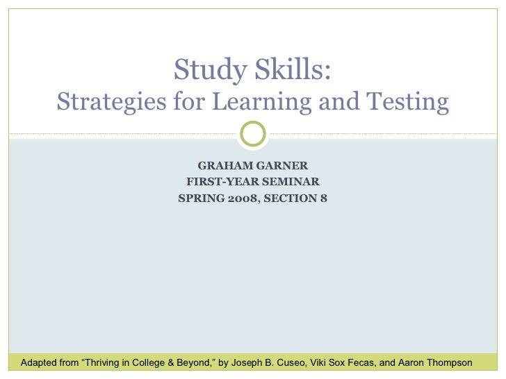 Study Skills, Fys, Spring 2008