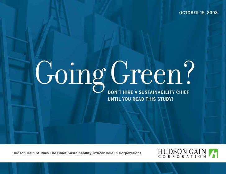 OCTOBER 15, 2008                 Going Green?                             DON'T HIRE A SUSTAINABILITY CHIEF               ...