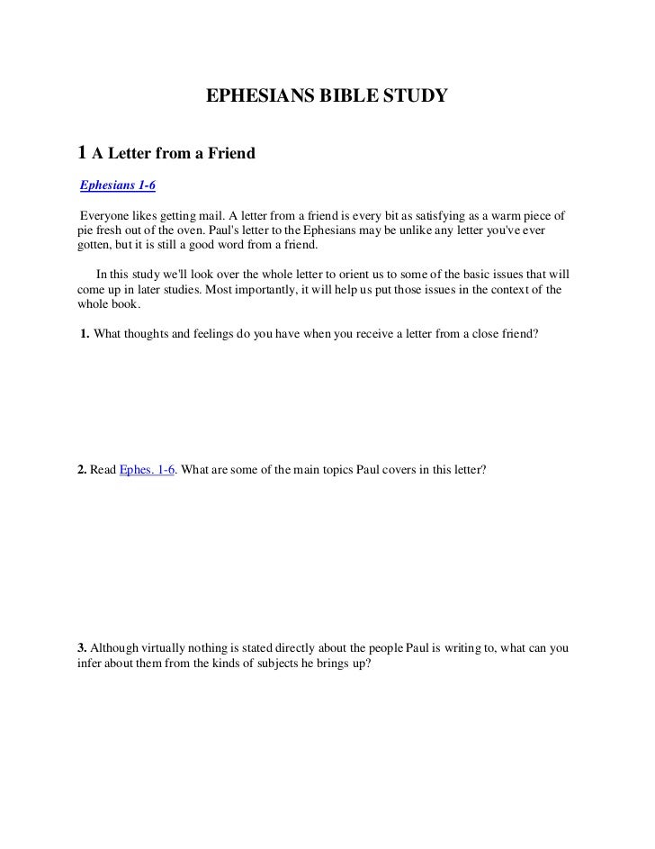 EPHESIANS BIBLE STUDY<br />1 A Letter from a Friend<br />Ephesians 1-6<br />Everyone likes getting mail. A letter from a...