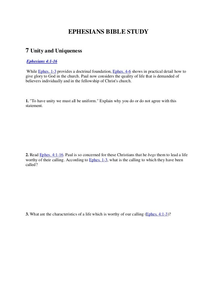 EPHESIANS BIBLE STUDY<br />7 Unity and Uniqueness<br />Ephesians 4:1-16<br />While Ephes. 1-3 provides a doctrinal found...