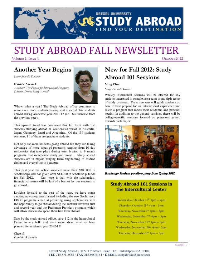 STUDY ABROAD FALL NEWSLETTERVolume 1, Issue 1                                                                             ...