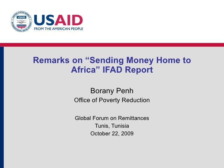 """Remarks on """"Sending Money Home to Africa"""" IFAD Report"""