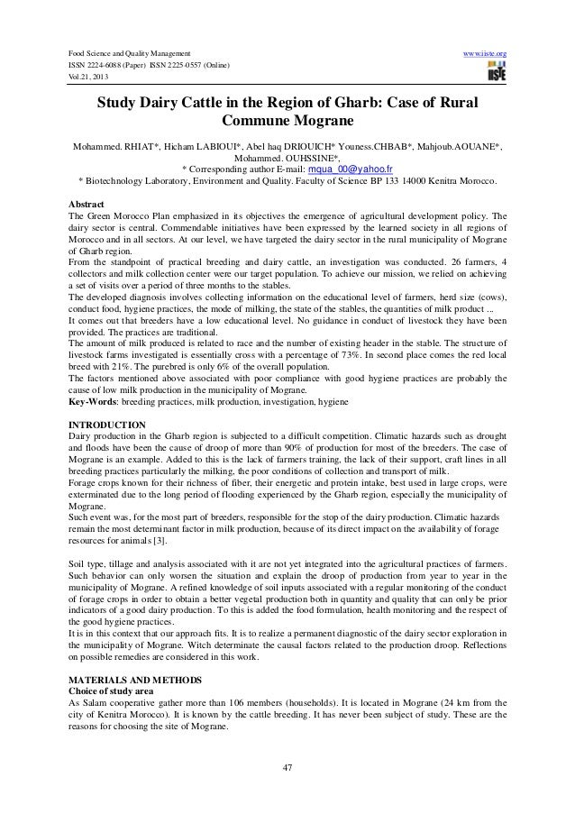 Study dairy cattle in the region of gharb case of rural commune mograne