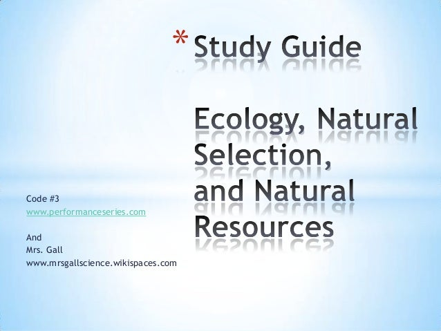 Study guide soil ecology and nat selection code 3