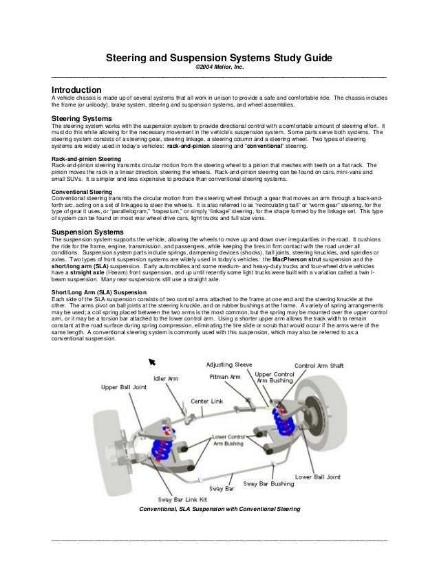 ______________________________________________________________________________ Steering and Suspension Systems Study Guide...