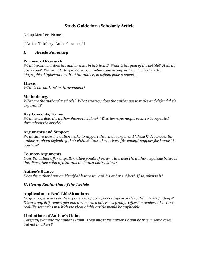 Study Guide for Critically Reading Scholarly Articles