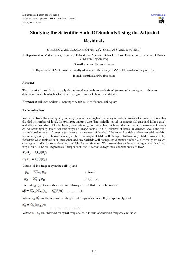 Mathematical Theory and Modeling www.iiste.org ISSN 2224-5804 (Paper) ISSN 2225-0522 (Online) Vol.4, No.4, 2014 114 Studyi...