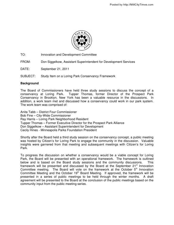 Study Item on a Loring Park Conservancy Framework MPRB Meeting 9-21-2011