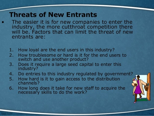 threat of new entrants to the textile industries Sample industry analysis of textile industry threat of new entrants, (2) threat of substitute products or services, (3) in some industries.