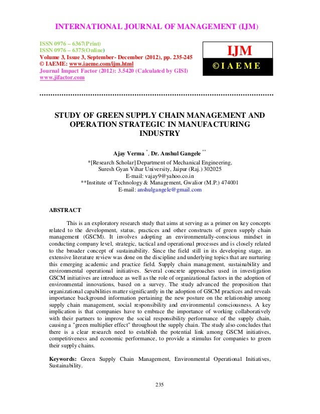 Study of green supply chain management and operation strategic