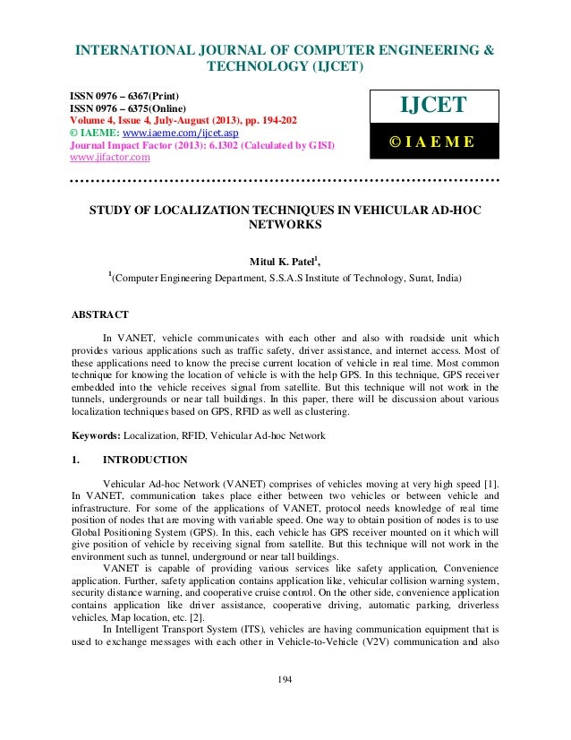 Study of localization techniques in vehicular ad hoc networks