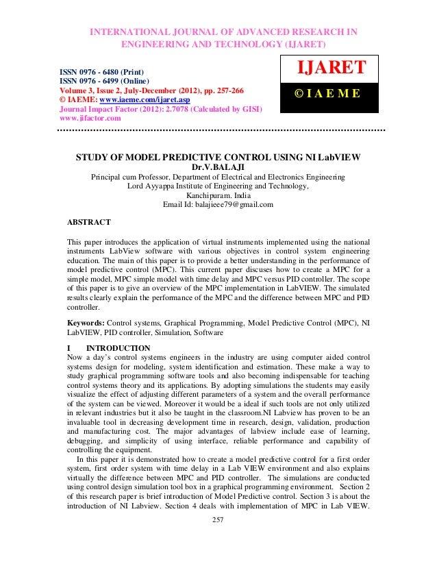 Study of model predictive control using ni lab view