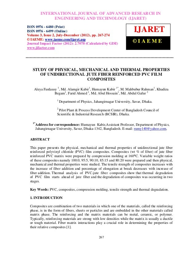 Study of physical, mechanical and thermal properties of unidirectional jute fiber reinforced pvc film composites