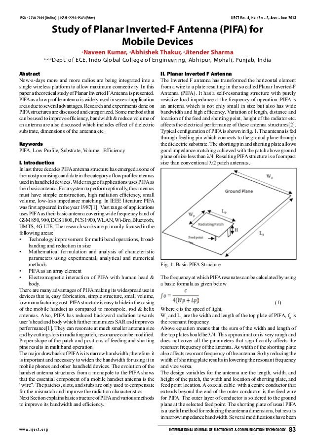 Study of Planar Inverted - F Antenna (PIFA) for mobile devices