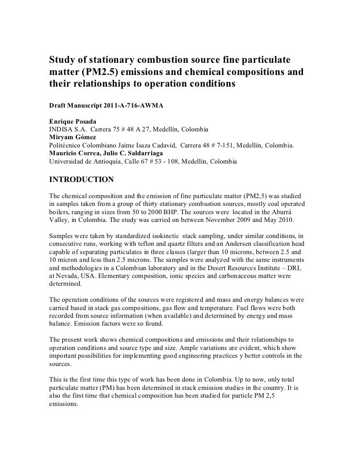 Study of stationary combustion source fine particulatematter (PM2.5) emissions and chemical compositions andtheir relation...