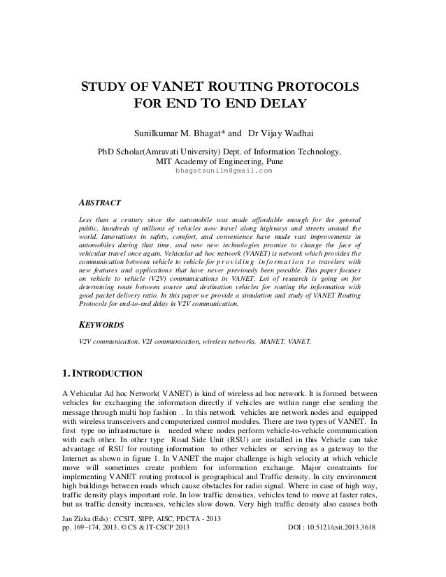 Study of vanet routing protocols for end to end delay