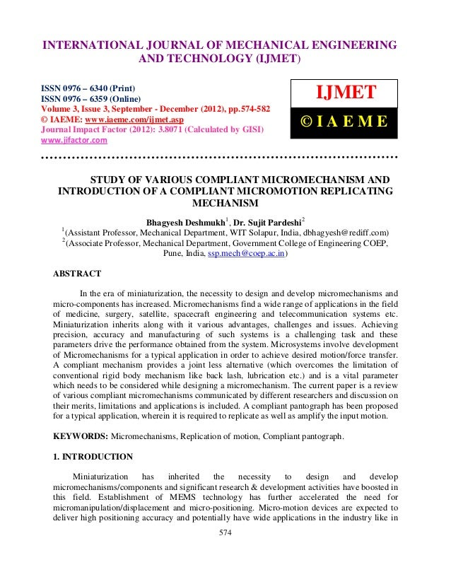 INTERNATIONAL6359(Online) Volume 3, Issue and Technology © IAEME ISSN 0976 –  International Journal of Mechanical Engineer...