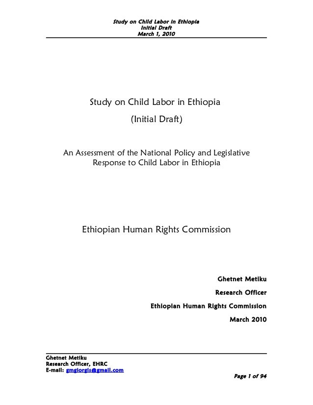Study on Child Labor in Ethiopia                                 Initial Draft                                March 1, 201...