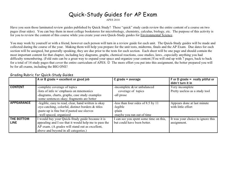 Quick-Study Guides for AP Exam                                                                       APES 2010  Have you s...