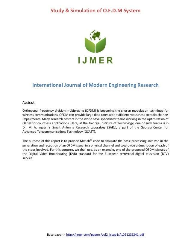 Study & simulation of O.F.D.M. system