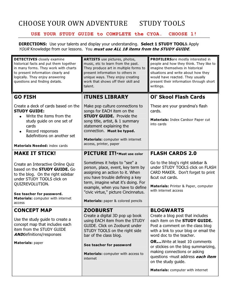 CHOOSE YOUR OWN ADVENTURE                                               STUDY TOOLS          USE YOUR STUDY GUIDE to COMPL...