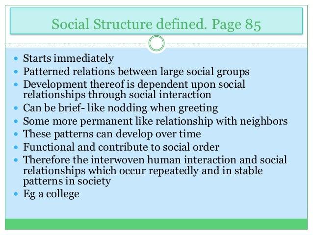 a description of social interaction or social relation