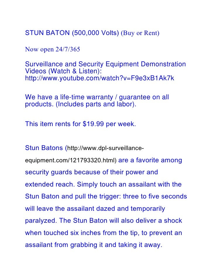 STUN BATON (500,000 Volts) (Buy or Rent)Now open 24/7/365Surveillance and Security Equipment DemonstrationVideos (Watch & ...