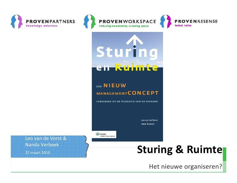 Leo van de Vorst & Nanda Verbeek 22 maart 2010        Sturing & Ruimte                        Het nieuwe organiseren?