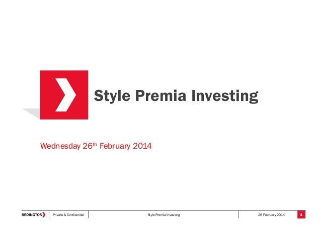 Style Premia Investing