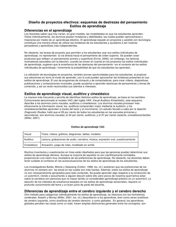 Diseño de proyectos efectivos: esquemas de destrezas del pensamiento                             Estilos de aprendizaje Di...
