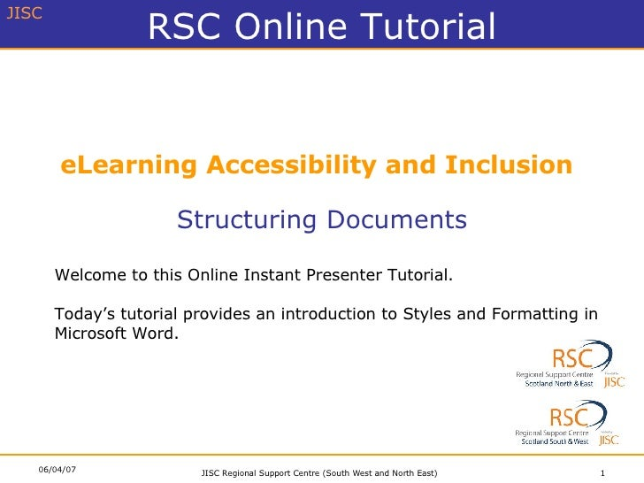 eLearning Accessibility and Inclusion Structuring Documents Welcome to this Online Instant Presenter Tutorial. Today's tut...