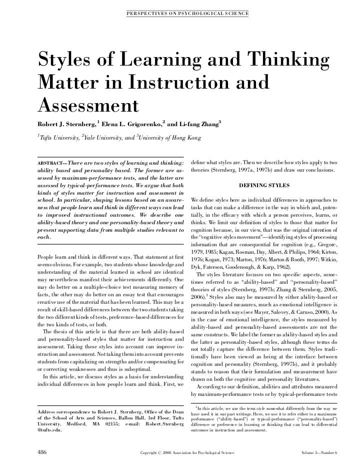 PE R SP EC TI V ES O N P SY CH O L O G I CA L S CIE N CEStyles of Learning and ThinkingMatter in Instruction andAssessment...