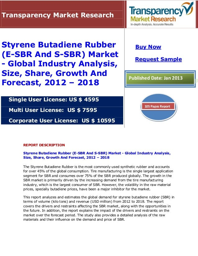 Styrene Butadiene Rubber (E-SBR And S-SBR) Market - Global Industry Analysis, Size, Share, Growth And   Forecast, 2012 - 2018