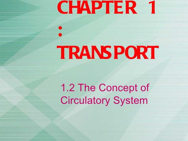 CHAPTER 1:TRANSPORT1.2 The Concept ofCirculatory System